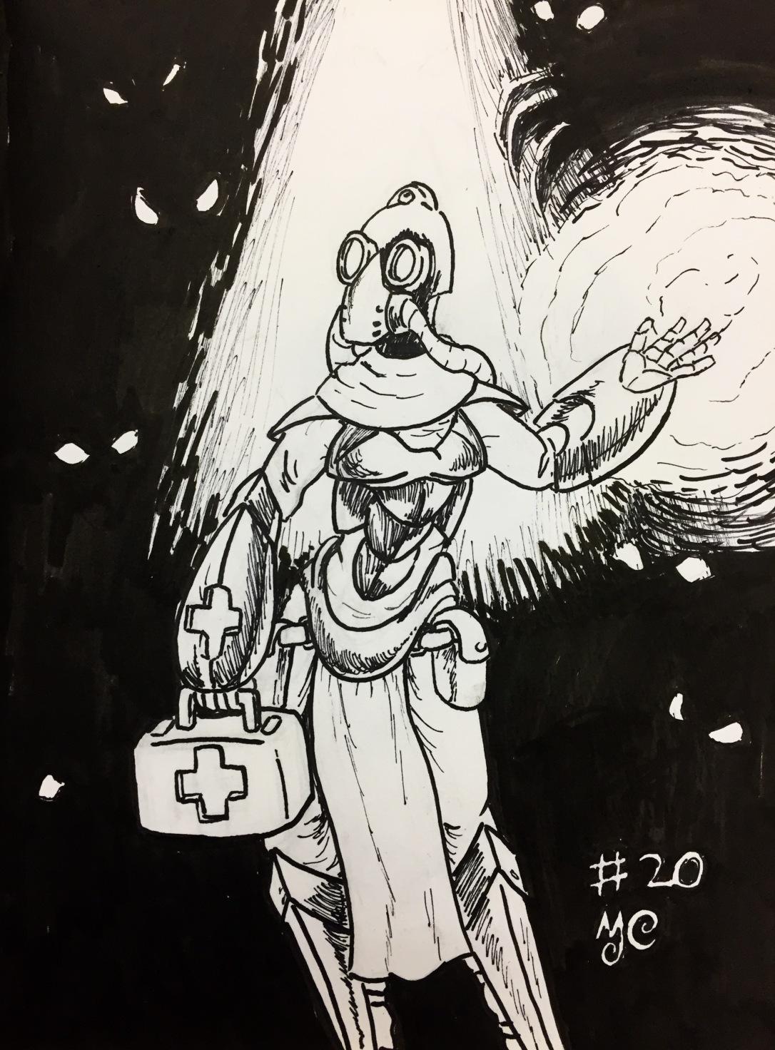 Inktober 2017-20 Medic Witch Deep Underground